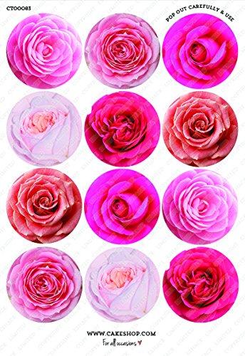 12 x Cakeshop decoración para pasteles comestibles PRECORTADAS de Flores rosadas