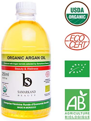 250 ml Aceite de Argán BIO 100% Puro con Certificado Ecológico Ecocert Primera Presión en Frío para Pelo y Piel - El Original de Marruecos (250 ml)
