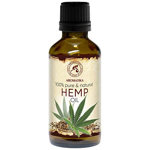 Aceite de Semillas de Cáñamo 50ml - 100% Puro y Natural - Aceite Base - Cannabis Sativa Seed Oil - Cuidado Intensivo para Rostro - Cuerpo - Cabello - Piel - para Masajes de Belleza