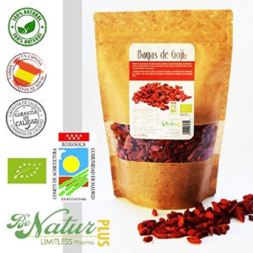 Bayas de Goji BeNatur Plus – 100% Bayas de Goji de Pureza Garantizada Libre de Pesticidas y de cualquier tipo de productos Químicos 250 g
