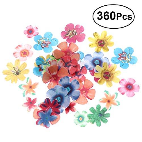 BESTONZON 360pcs flores comestibles lindas primeros de la magdalena convenientes para la decoración de la fiesta de cumpleaños del pastel de bodas comida (grueso de 0.65mm)