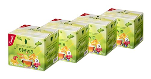 Castelló Since 1907 Edulcorante Stevia 1:8 - Paquete de 4 x 60 sobres - Total: 240 gr