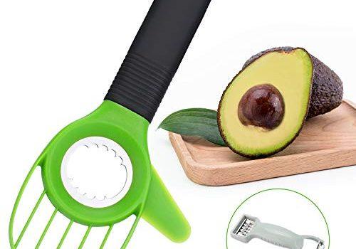 Nivlan 3 en 1 Pelador Aguacate con Cuchilla de Acero Inoxidable y Mango de Silicona.