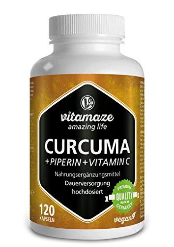 Cápsulas de cúrcuma + curcumina piperina altamente concentrada + vitamina C, 120 cápsulas veganas, producto alemán de calidad, ¡ahora a un precio promocional! Paquete individual (1 x 105,6 g)