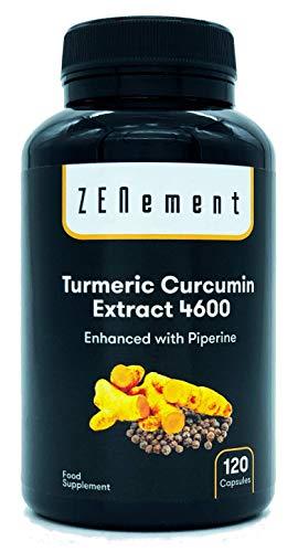 Cúrcuma 4600mg Extracto Certificado, 120 cápsulas, con Pimienta Negra. Potente antioxidante, para la salud cardiovascular y las articulaciones. Máxima concentración. 100% Natural