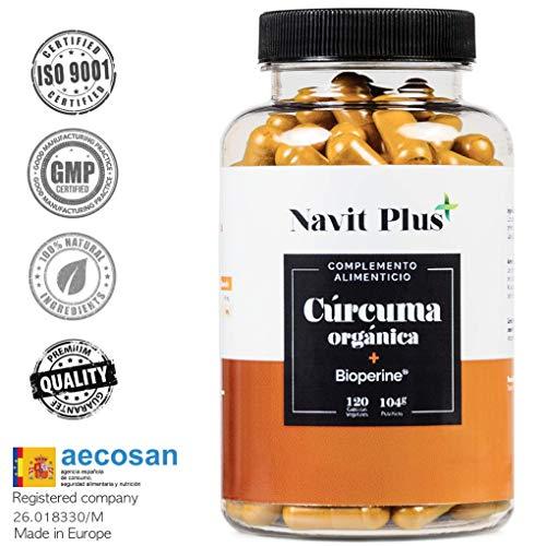Cúrcuma Orgánica con BioPerine®. Suplemento Nº 1 en Cúrcuma. Potente antiinflamatorio y antioxidante natural. 120 cápsulas vegetales con ingredientes de máxima calidad. Cúrcuma ecológica 100% natural.
