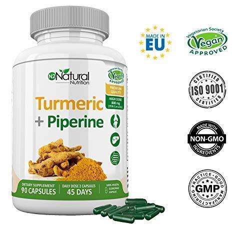Cúrcuma Piperina 95% Curcumina-Pimienta Negra. Suplemento Máxima Concentración-Alta Absorción. Antiinflamatorio-Antioxidante-Detox. 90 Cápsulas. Certificado Vegano. Fabricado CE.N2 Natural Nutrition