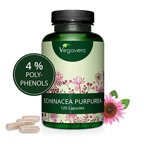 Extracto de Equinácea Vegavero® | 6000 mg | LA DOSIS MÁS ALTA | 4% Polifenoles | Sin Aditivos | Resfriados + Gripes + Infecciones + Defensas | 120 Cápsulas | Vegano