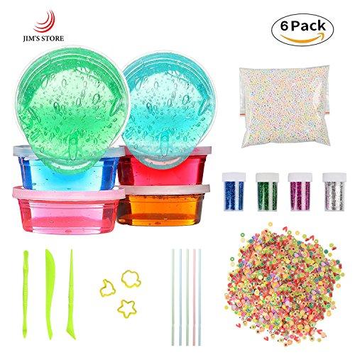 Juguetes para niños Slime DIY Slime Kit, LOTE JIM 6 Pack Crystal Clay Barro con 5000PCS Bolas de espuma de colores, 2500PCS Decoración de cara de fruta, 4 botellas de brillo Shaker Jars, no tóxico Magic Plasticine juguetes