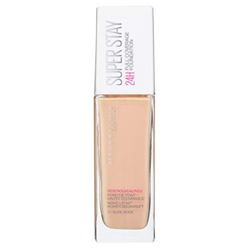 Maybelline New York Base de Maquillaje Superstay 24H (Larga duración), Tono 21 Nude Beige