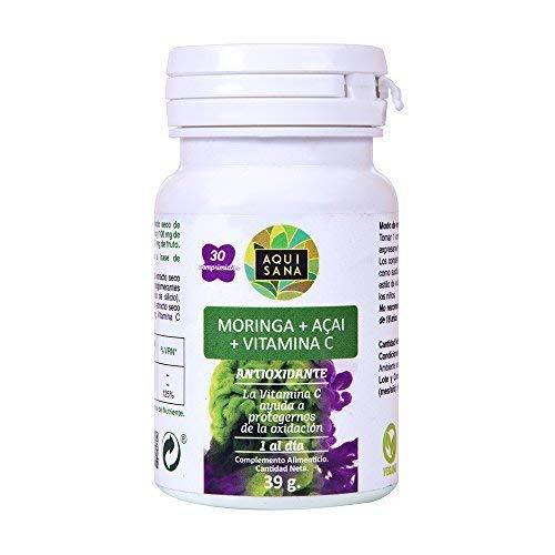 Moringa y vitamina C para reducir el colesterol y como antiinflamatorio natural - Moringa + Acai + Vitamina C como antioxidante natural y para ayudar a adelgazar - 30 comprimidos