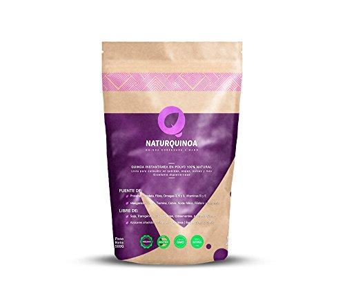 Naturquinoa | Concentrado De Quinoa En Polvo Premium 100x100 Natural | Quinoa Sin Gluten | Bolsa 500 Gramos De Quinoa y Receta | Bolsa Para 30 Días