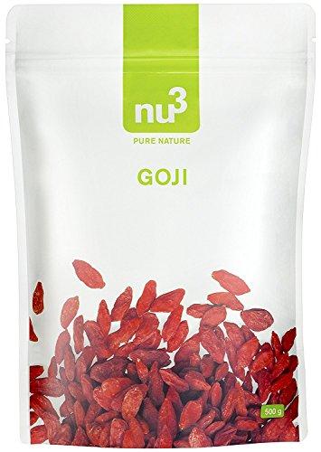 nu3 Bayas de Goji Premium - 500g | Superalimento de moda - Secadas naturalmente sin sulfato - Ideal para el desayuno - Ayuda a fortalecer el sistema inmunológico - Contiene vitaminas y minerales