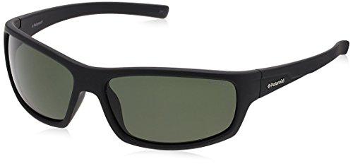 Polaroid P8411S - Gafas de sol rectangulares para hombre, 63 mm, negro