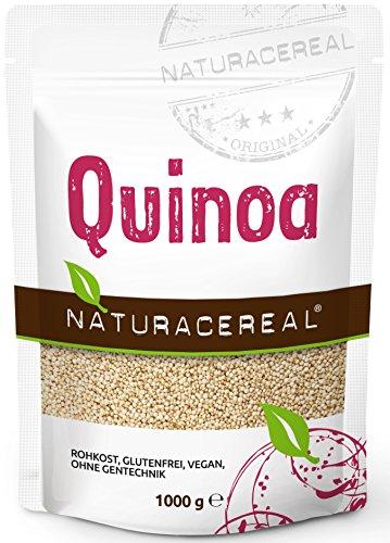Quinoa blanca Premium - 1kg - NATURACEREAL | Mayor contenido de minerales que el arroz, | Rico en fibras y proteínas | Libre de gluten | Vegano | Sin ingeniería genética |