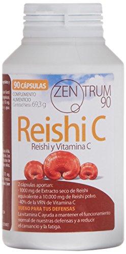 Reishi con vitamina C para combatir el cansancio y la fatiga - Suplemento alimenticio de Reishi para aliviar la ansiedad y reforzar el sistema inmunológico - 90 cápsulas