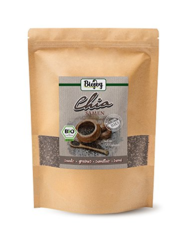 Semillas de chía bío | súper comida de calidad premium | sin gluten y vegano | natural y sin aditivos, recién envasada | Chia ricas en proteínas, fibras y ácidos omega 3 Salvia hispanica (1 kg)