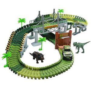 TONZE Pista Coches Flexible Juguetes con Dinosaurio Juego Electrónico para Niños 3, 4, 5 Años.