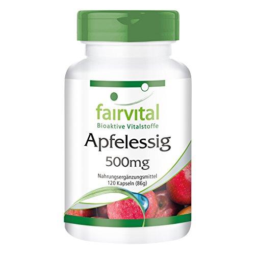 Vinagre de Manzana cápsulas 500mg - Altamente dosificado - VEGANO - 120 Cápsulas - ¡Calidad Alemana garantizada!
