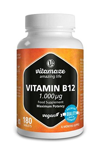 Vitamina B12 comprimidos de 1000 µg con Metilcobalamina - 180 comprimidos veganos - 6 meses de suministro - producto de calidad hecho en Alemania - sin estearato de magnesio