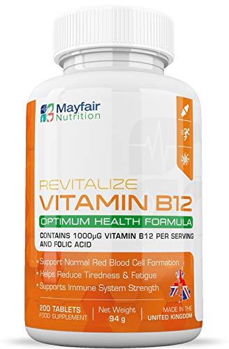 Vitamina B12 con ácido fólico | 200 tabletas de primera calidad de 1400 mg | Suplemento vegetariano y vegano | No OGM y sin gluten | Suministro para 6 meses | Hecho en UK por Mayfair Nutrition