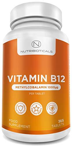 Vitamina B12 Metilcobalamina 1000mcg 365 Tabletas (Suministro para 12 Meses) | Reducción del cansancio y la fatiga y normalización de la función del sistema inmunológico