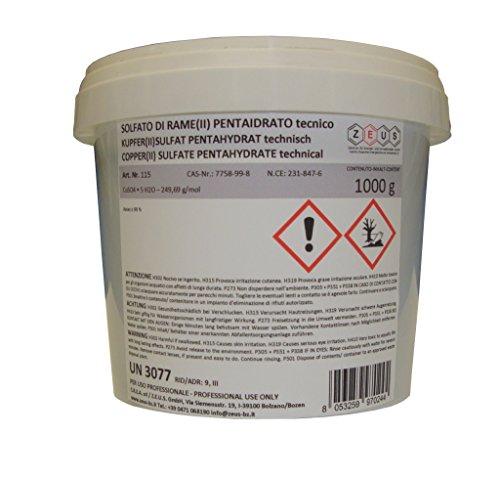 ZEUS - Sulfato de cobre pentahidratado calidad técnica - 1 kg